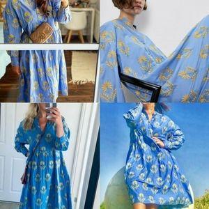 Light blue Long Zara embroided tunic dress